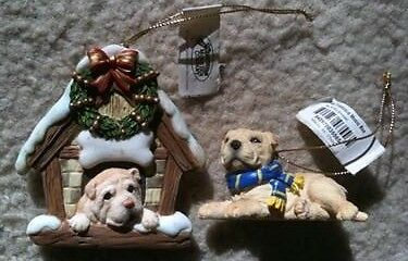 Lot Of 2 Rare Shar Pei Christmas Ornaments~Scarf & Doghouse