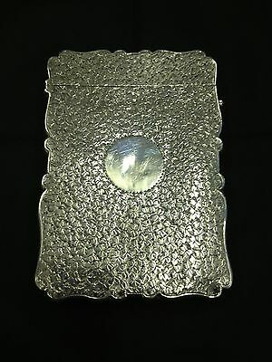 Antique Silver Card Case With Beaten Pattern And Empty Monogram Birmingham 1893