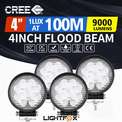 【15% OFF】4x 4inch CREE LED Work Light Flood Round Fog Lamp Reverse Offroad 4X4
