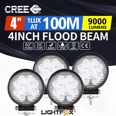 4 x 27W Round LED Work Light Flood Reverse Lamp 4x4 Offroad Truck Ute 4WD