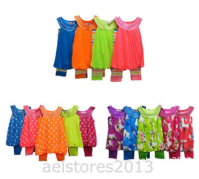Girls Party Dress Summer 2/3pc Legging Suit Floral Top Age 2 12 year New Fashion