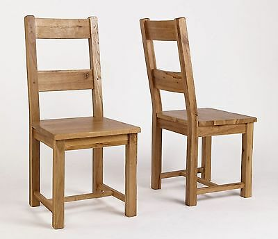 Quebec solid oak furniture set of four timber dining chairs