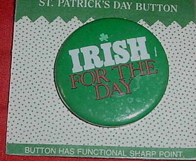 ST PATRICKS DAY IRISH FOR THE DAY ROUND PIN METAL CARLTON CARDS CARD AGC NIP