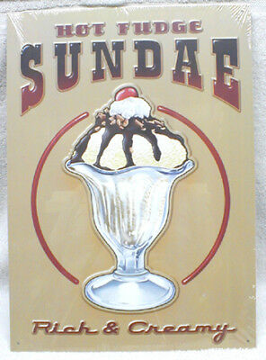 "Classic ""hot Fudge Sundae"" Rich & Creamy Metal Sign, New! Delicious Collectible!"