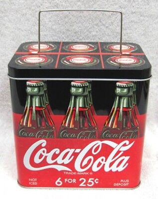 Coca-Cola Six Pack Of Bottles In Relief - Metal Tin With Wire Handle - New!