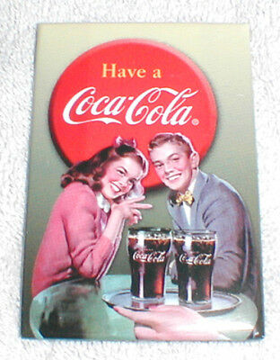 Coca-Cola Young Couple At Soda Fountain -  Metal Magnet, New!