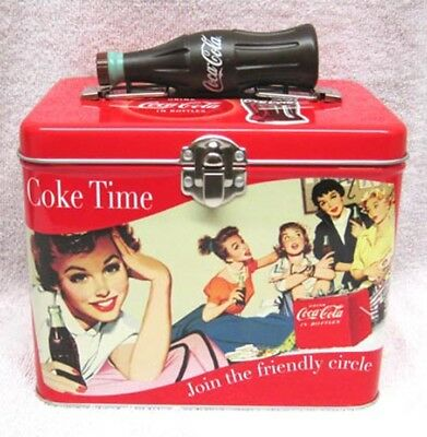 Coke Train Case / Lunch Box Tin With Bottle Handle, New!
