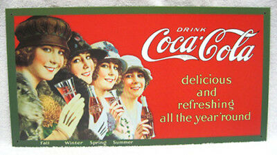 Four Seasons Coca-Cola Girls Metal Sign, New!