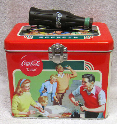 Refreshing With Food - Coca-Cola Train Case / Lunch Box Tin, New!