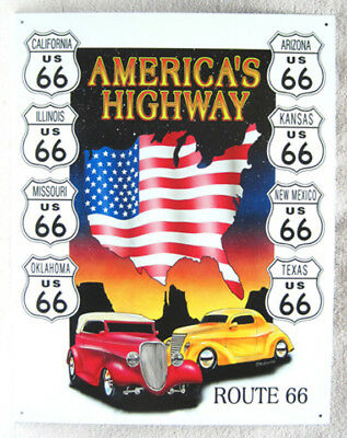 Route 66 America's Highway Metal Sign, New!