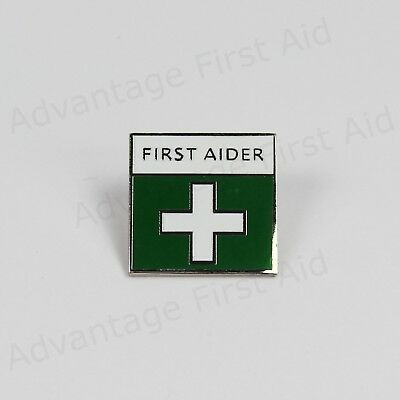 First Aid / Aider Green Metal Enamel Badge with Locking Pin. Event & Medical.