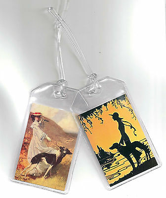 Set of 2 Greyhound Luggage Tags - Vintage Altered Art Ladies + Sighthounds