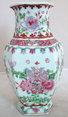 """Unusual Hexagon Shape Antique Chinese Famille Rose Porcelain Vase  (6"""" tall)"""