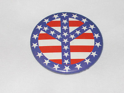 USA American Flag PEACE Button Pin Back  American Pride Red White & Blue 1991