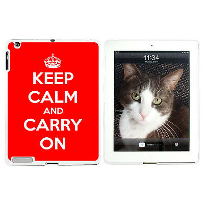 Keep Calm and Carry On Red - Hard Protective Case for Apple iPad 2 3 4 - White