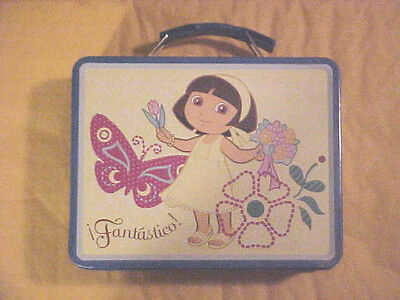DORA the Explorer<Tin Lunch box<>Keep sake box>Fantastico!  Embossed NEW (t)