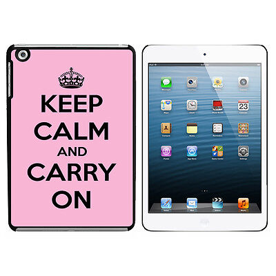 Keep Calm and Carry On Pink - Hard Protective Case for Apple iPad Mini - Black