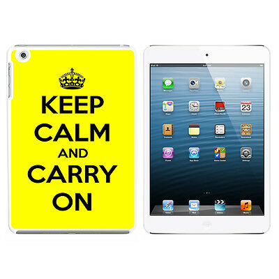 Keep Calm and Carry On Yellow - Hard Protective Case for Apple iPad Mini - White