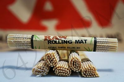 """Lots of 6 (4.75""""x 3.25"""") AUTHENTIC Raw All Natural Bamboo Cigarette Rolling Mats"""