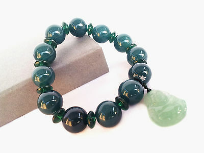 Feng Shui  Chinese Jade bracelet withLauging Happy Money  Buddha for fortune
