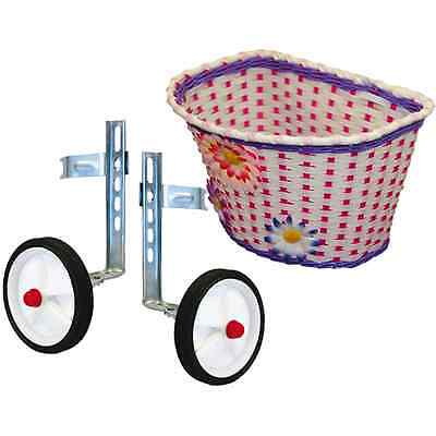Pedalpro Bike/bicycle Childs Stabilisers/stabilizers & Girls Pink Flowery Basket