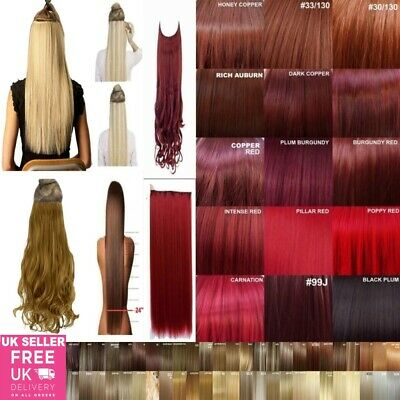 24'' High Heat Resistant One Piece Hair Extension Curly & Straight Over 85 Shade