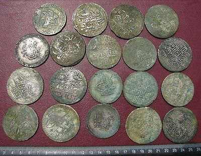 Hoard of 19 Authentic Ancient HUGE Ottoman Islamic Silver Coins 1.2+ lbs  6868-A