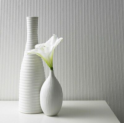 White Paintable Corduroy Wallpaper - Embossed Thin Stripes - 10m Roll