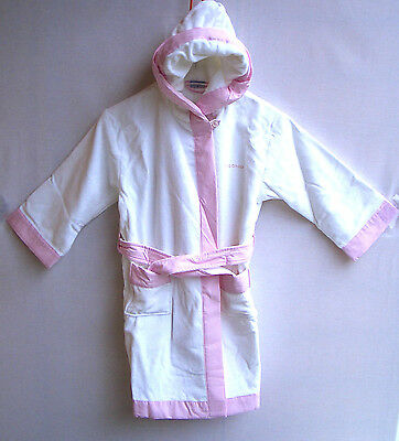 Cisono by SANETTA Girls Bademantel Velour/Frottee weiss/rosa Gr.116 UVP 45,95