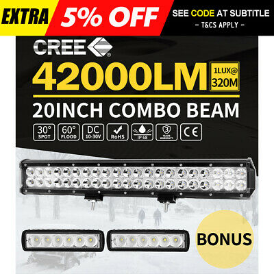 20inch 210W CREE LED Light Bar Flood Spot Offroad + 2X 6inch LED Work Lights