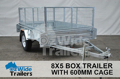 Brand New  8 x 5 Box Trailer with Cage + Tipper – Galvanised – Fully Welded