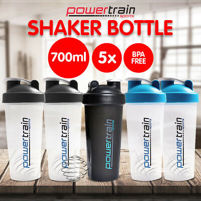 5X GYM PROTEIN SUPPLEMENT DRINK BLENDER MIXER SHAKER SHAKE BALL BOTTLE CUP 700ml