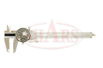 "Shars 0- 6"" Stainless 4 Way Dial Caliper .001"" Shock Proof Black Face New"