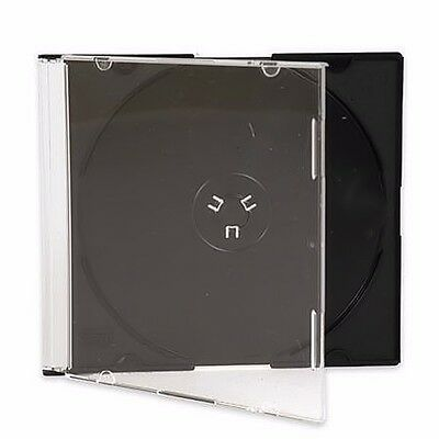 200 New Assembled Single Slim Black Tray CD DVD Jewel Case Box Fedex Ground