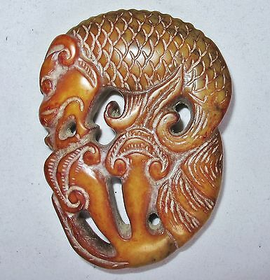"2.95"" Antique ? Chinese Archaic Style Green & Orange Jade DRAGON FISH Pendant"