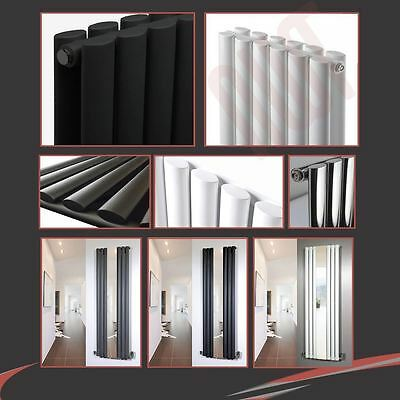"Chrome Black & White ""Brecon"" Vertical & Horizontal Designer Oval Tube Radiators"