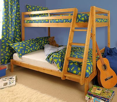 Triple Bunk Bed 3ft & 4ft Wooden Pine with Storage & Mattress Options - Durleigh