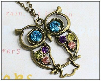 Vintage Colorful Cute Owl Carved Hollow Chain Necklace New