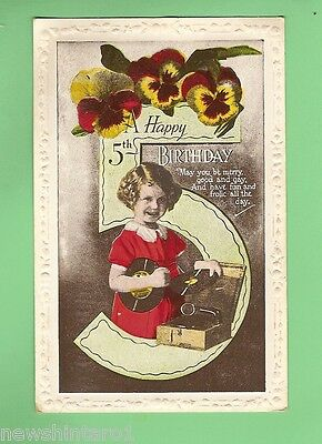 #A. 5th BIRTHDAY  POSTCARD - GIRL WITH GRAMOPHONE