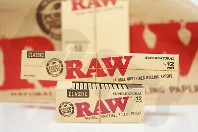 """1 Authentic Raw Supernatural 12"""" (Foot Long) Unbleached Rolling Papers"""