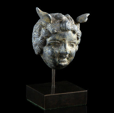 Very fine Ancient Roman bronze head of Mercury