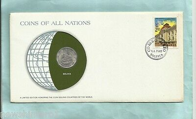 #d55.  Stamped  Envelope & Coin - Bolivia