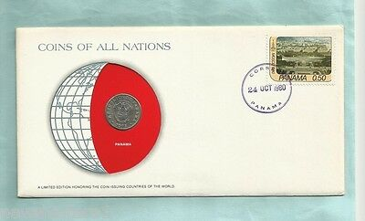 #d55.  Stamped  Envelope & Coin - Panama