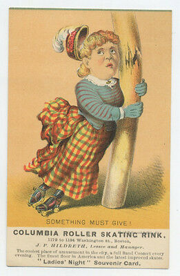 Boston, MA roller rink trade card - Something Must Give