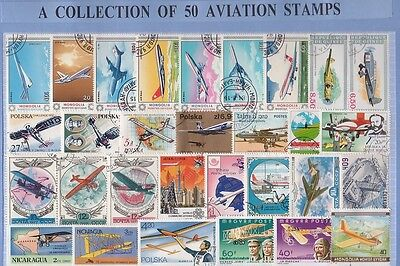 50 Aviation Thematic Stamps Collection - All Different & Genuine
