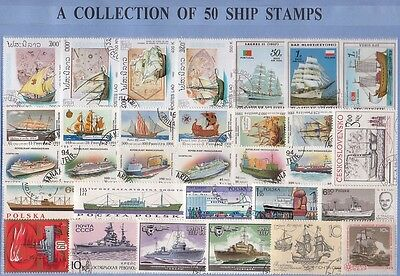 50 Ships Thematic Stamps Collection - All Different & Genuine