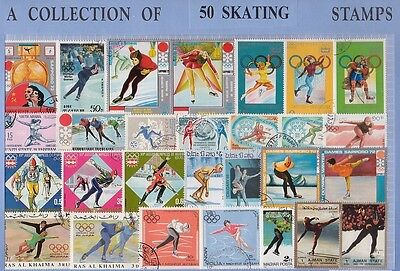 50 Skating Thematic Stamps - All Different & Genuine