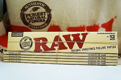 """5 Packs AUTHENTIC RAW SUPERNATURAL 12""""  ROLLING PAPERS FREE SHIPPING"""