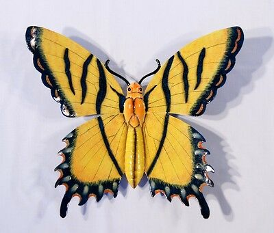 "Hand Painted Large 16"" Butterfly Wall Mount Decor Sculpture Tiger Yellow 06B"