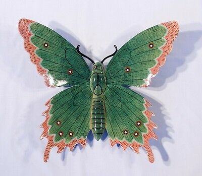 "Hand Painted Large 16"" Butterfly Wall Mount Decor Sculpture Green 07B"